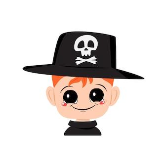 Avatar van een jongen met rood haar, grote ogen en een brede, gelukkige glimlach met een hoed met een schedel op het hoofd van...