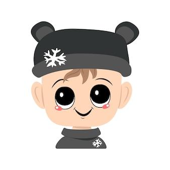 Avatar van een kind met grote ogen en een brede glimlach in een berenhoed met een sneeuwvlokje een schattig kind met een jo...