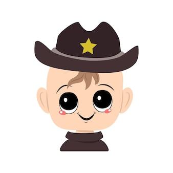 Avatar van een kind met grote ogen en een brede glimlach in een sheriff-hoed met een gele ster schattig kind met een...