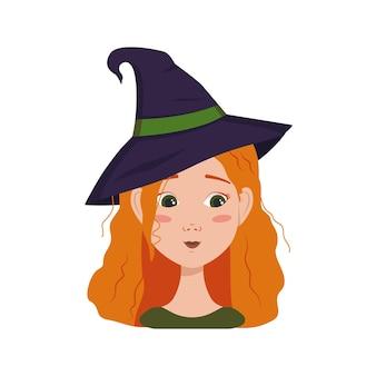 Avatar van een vrouw met rood krullend haar, verlegenheidemoties, beschaamd gezicht en neergeslagen oog met een heksenhoed. meisje met sproeten in een pak voor halloween