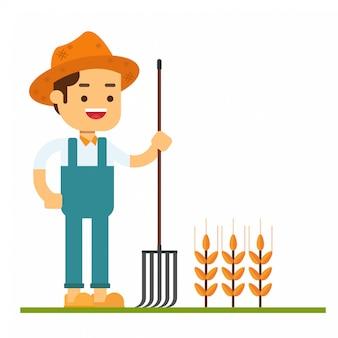 Avatar van het mensenkarakter pictogram kaukasische landbouwer in de zomerhoed die zich met een hooivork bevinden