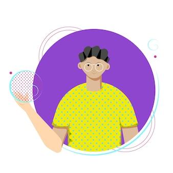 Avatar van man met bril met zeepbellen. vectorillustratie.