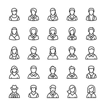 Avatars lijn pictogrammen