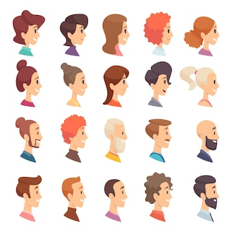 Avatars profiel. personen man en vrouw verschillende leeftijden bejaarde bebaarde hoofd glimlach meisjes en jongens karakters.