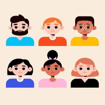 Avatars-stijlen voor verschillende mannen en vrouwen