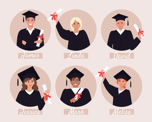 Avatars van afgestudeerde studenten, afstudeeralbum. gelukkige jonge mensen in mortel board en bachelor jurk met diploma. illustratie in vlakke stijl