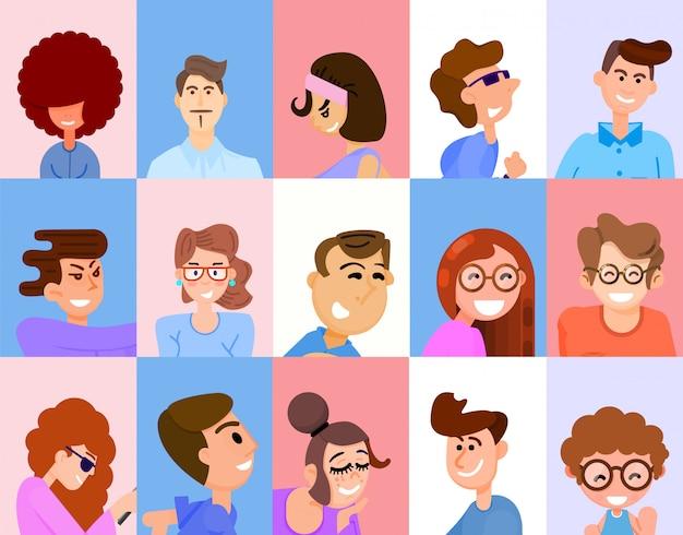 Avatars voor vlakke stijl van sociale netwerken.