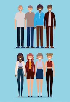 Avatarsbeeldverhalen van vrouwen en mannen die op blauw ontwerp als achtergrond, persoonsmensen en menselijk thema glimlachen.