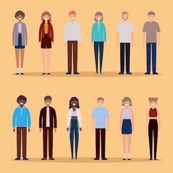 Avatarsbeeldverhalen van vrouwen en mannen die op oranje ontwerp als achtergrond, persoonsmensen en menselijk thema glimlachen.