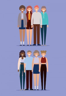 Avatarscartoons voor vrouwen en mannen die op paars ontwerp als achtergrond, persoonsmensen en menselijk thema glimlachen.