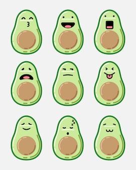 Avocado emoticon set