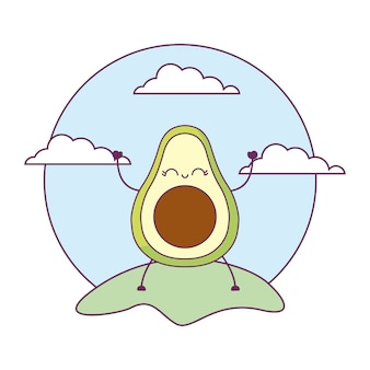 Avocado gezonde kawaii in landschap