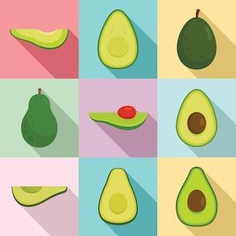 Avocado iconen set, vlakke stijl