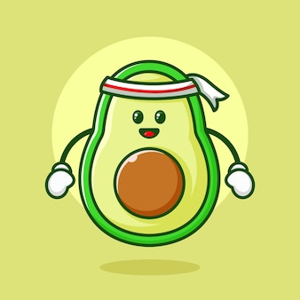 Avocado karakter logo ontwerp illustratie