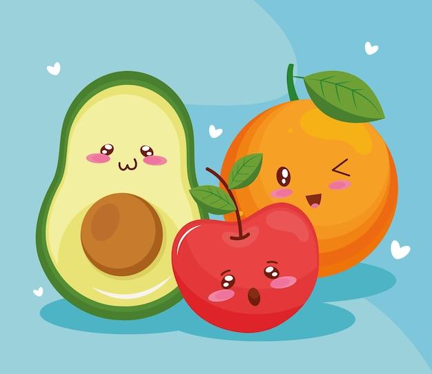Avocado met kawaiikarakters van tomaat en oranje voedsel
