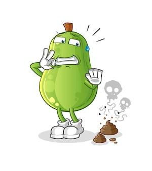 Avocado met stinkende afvalillustratie. karakter vector