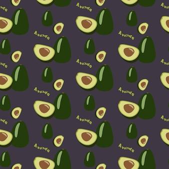 Avocado naadloos herhalend patroon, handgetekende stijl. voor afdrukken