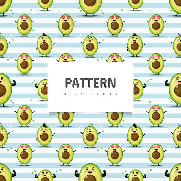 Avocado naadloze patroon met expressie