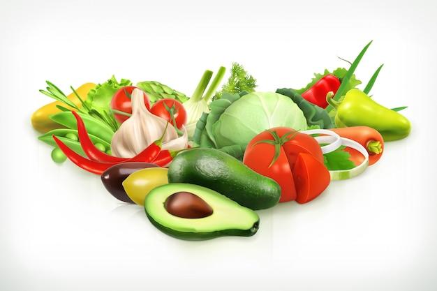 Avocado, oogst sappige en rijpe groenten vectorillustratie