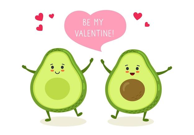 Avocado paar met dialoog tekstballon hand getekende grappige cartoon