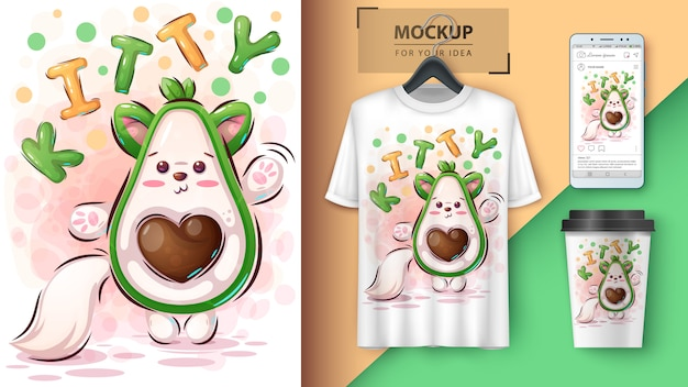 Avocado-poster en merchandising van kitty