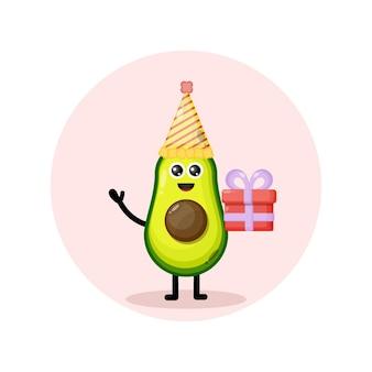 Avocado verjaardag karakter schattig