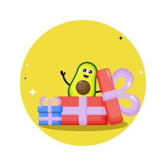 Avocado verjaardagscadeau schattig karakter mascotte