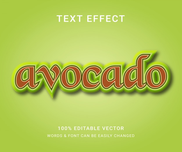 Avocado volledig bewerkbaar teksteffect