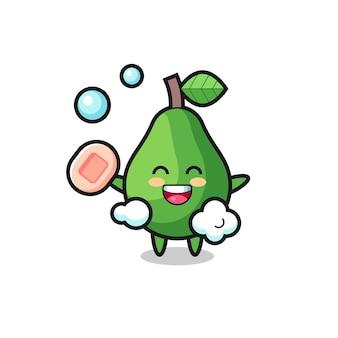 Avocadokarakter baadt terwijl hij zeep vasthoudt, schattig stijlontwerp voor t-shirt, sticker, logo-element