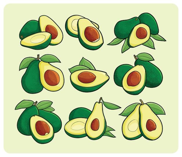 Avocadoset in eenvoudige cartoonstijl
