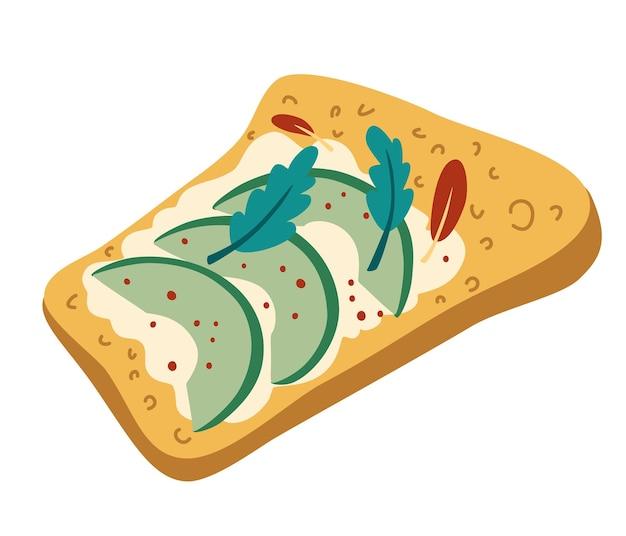 Avocadotoast. gezond ontbijt. geroosterd brood met avocado en kwark en kruiden