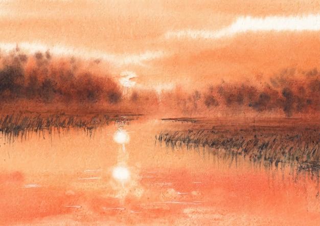 Avond natuur schilderij aquarel kunst en design