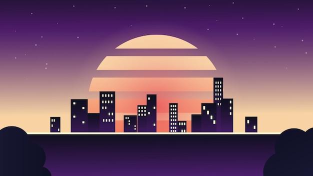 Avond stad in retro stijl nacht skyline van de stad