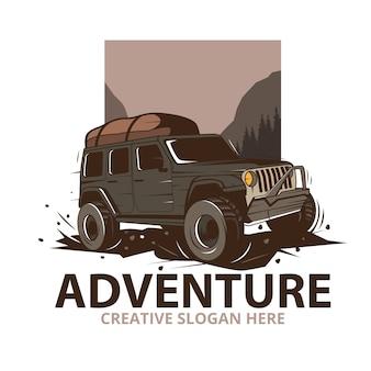 Avonturenillustratie met jeepauto in bergen