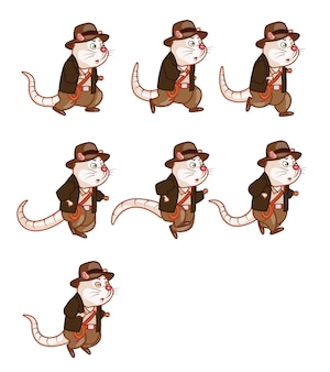 Avonturier rat cartoon game karakter sprite