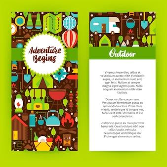 Avontuur begint flyer-sjabloon. platte ontwerp vectorillustratie van merkidentiteit voor camping promotie.