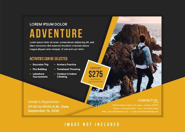 Avontuur horizontale flyer ontwerpsjabloon met gouden en zwarte combinatiekleuren. ruimte voor foto