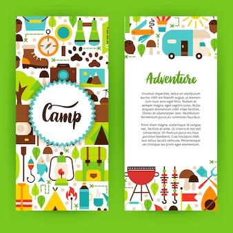 Avontuur kamp flyer sjabloon. platte ontwerp vectorillustratie van merkidentiteit voor camping promotie.