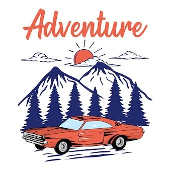 Avontuur klassieke auto boom berg
