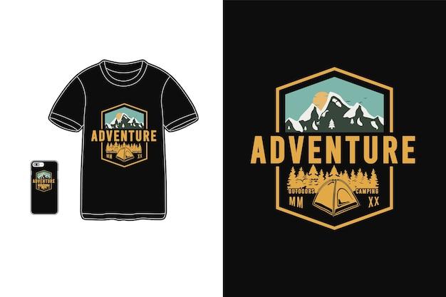 Avontuur, mockup voor t-shirt merchandise silhouet