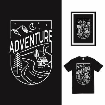 Avontuur mono lijn t-shirtontwerp