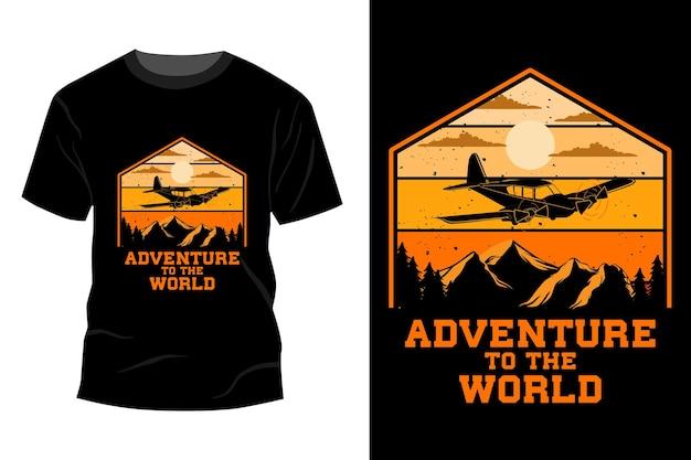 Avontuur naar de wereld t-shirt mockup ontwerp vintage retro