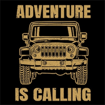 Avontuur off-road auto illustratie, vintage stijl, posters, t-shirt en gedrukte producten.