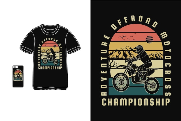 Avontuur off-road motorcross, t-shirt design silhouet retro stijl