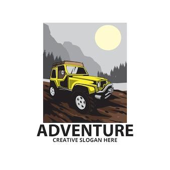 Avontuur op de berg, auto illustratie