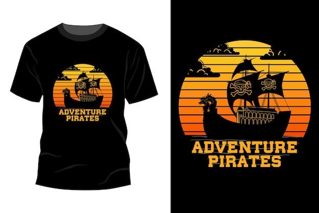 Avontuur piraten t-shirt mockup ontwerp vintage retro