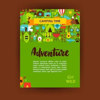 Avontuur sjabloon poster. platte ontwerp vectorillustratie van merkidentiteit voor camping promotie.