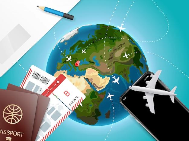 Avontuur tijd vectorillustratie met de aarde. vakantieconcept met toebehoren