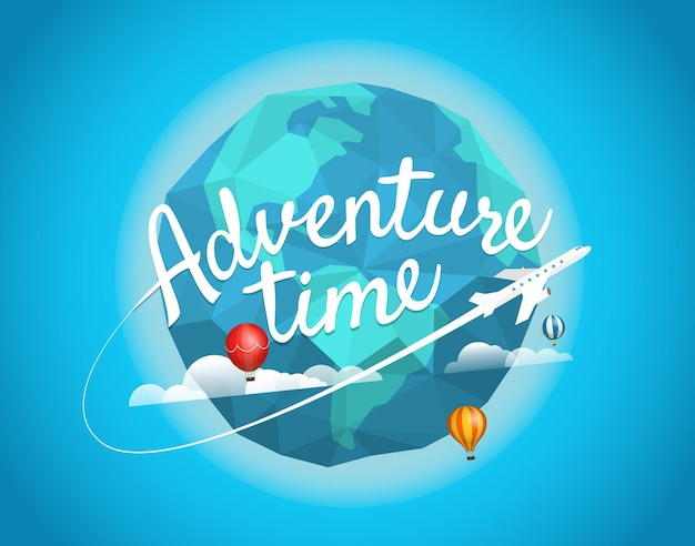 Avontuur tijd vectorillustratie. reisconcept met belettering logo