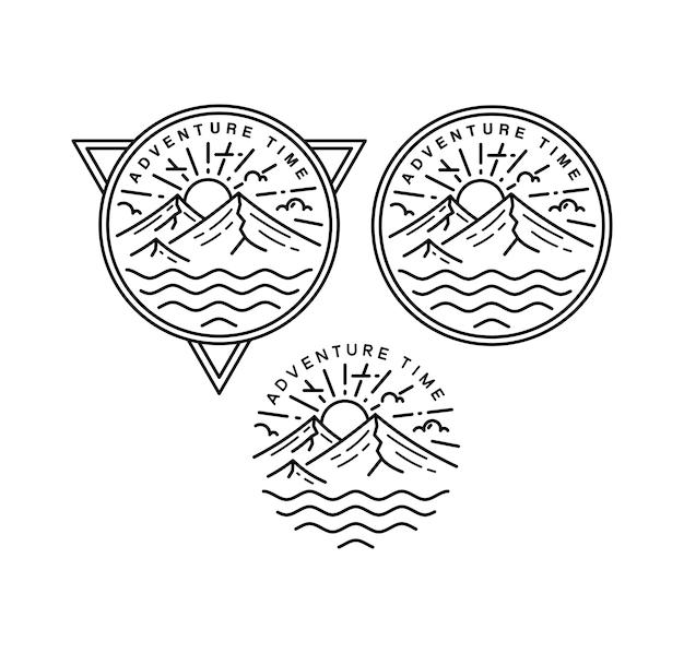 Avontuur tijd vintage monoline badge design